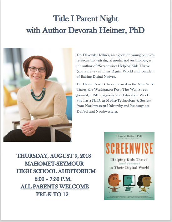 Title I Parent Night with Author Devorah Heitner