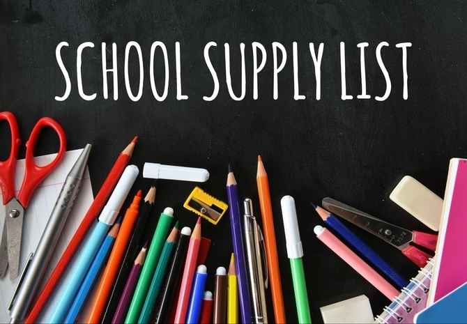 6th Grade Supply List 2019-2020