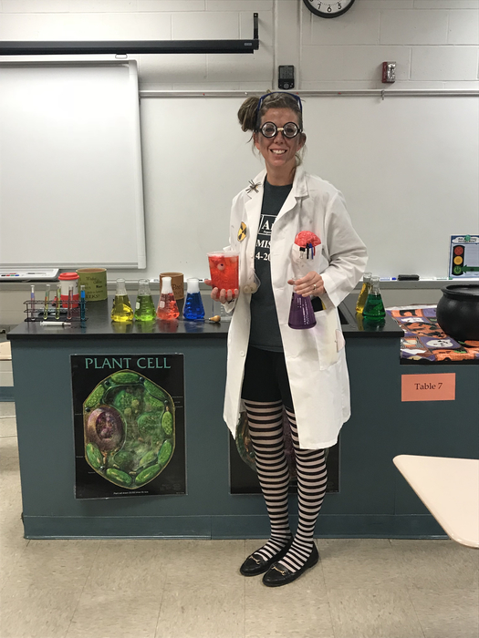Mrs. Clark poses for a quick pic as she prepares for today's lessons.