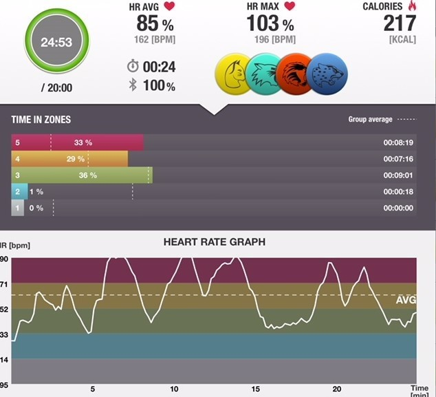 Actual Heart Rate graph from Boxercise in P.E.