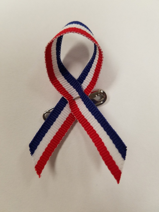 Those donating to the Gary Sinise Foundation after our Veterans Day Assembly received a red, white, and blue ribbon.