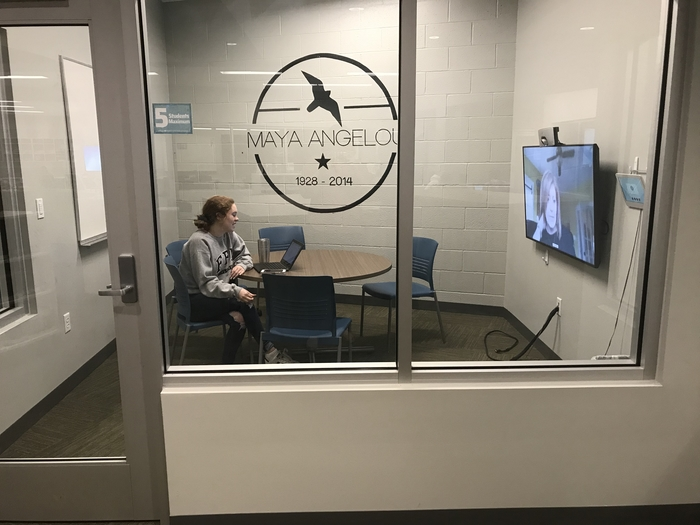 Student in virtual meeting