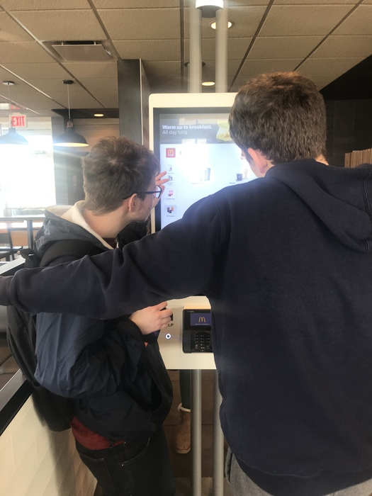 Touch screen ordering