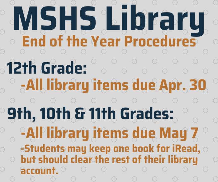 MSHS Library Due Dates