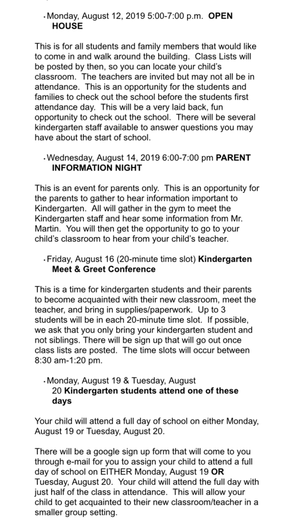 Important Kindergarten Dates