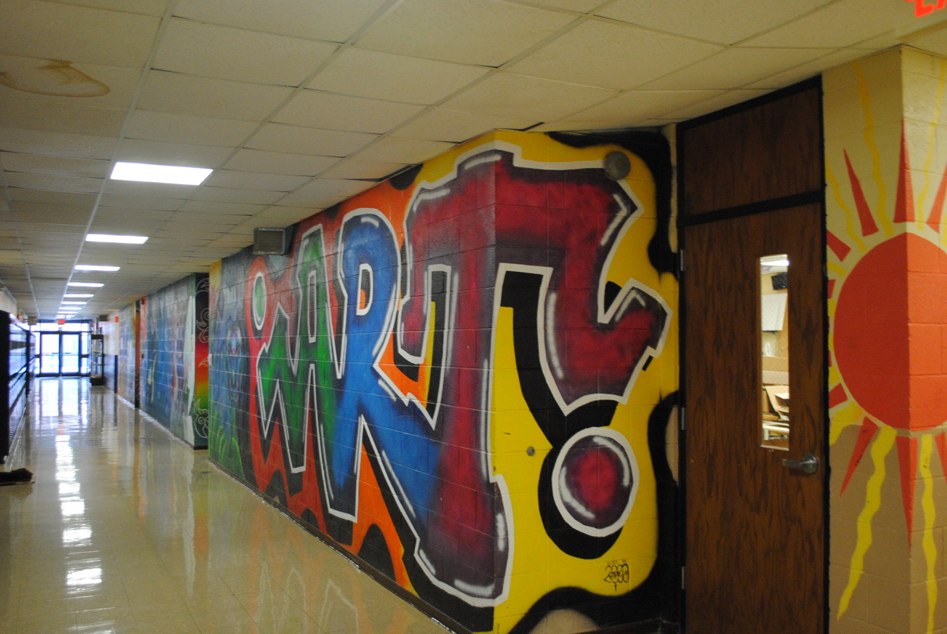 Murals make the hallway stand out